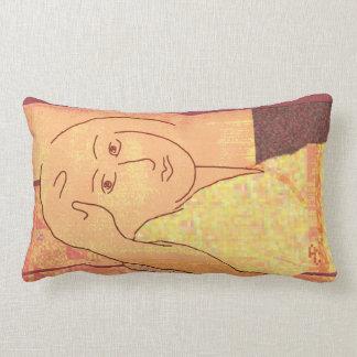 Girl in a kimono pixel block art pillow