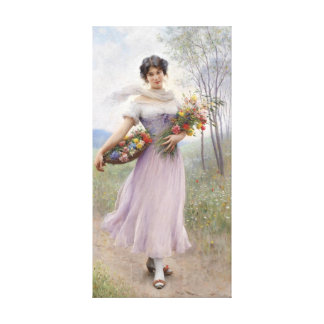 Girl In A Lilac-Coloured Dress - Canvas Canvas Print