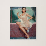 """Girl in a Negligee Pin Up Art Jigsaw Puzzle<br><div class=""""desc"""">Looking for vintage pinup girl art? You've come to the right place. Indulge in your vintage pinup passion with us. Pin Up Art features a variety of pin up girl photos from the 1910s to the 1950s.      This product features Girl in a Negligee vintage pin up girl art.</div>"""