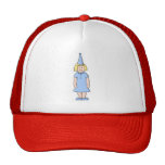 Girl in a pale blue birthday party outfit. trucker hat