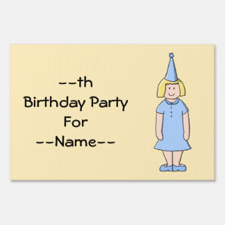 Girl in a pale blue birthday party outfit. lawn sign