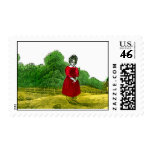 Girl in a Red Dress Stamps