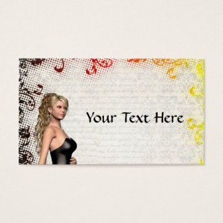 Girl in a silver gray dress business card