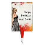 Girl in a silver gray dress cake toppers
