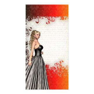 Girl in a silver gray dress card