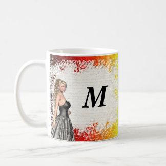 Girl in a silver gray dress coffee mug