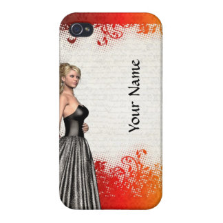 Girl in a silver gray dress cover for iPhone 4