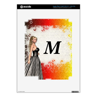 Girl in a silver gray dress decal for iPad 3