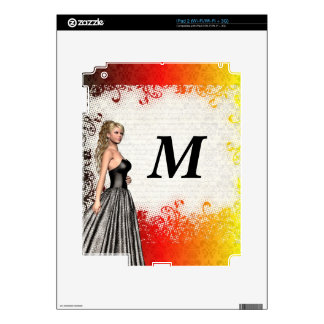 Girl in a silver gray dress decals for the iPad 2