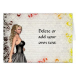 Girl in a silver gray dress greeting card