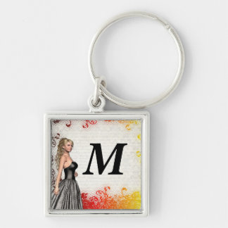 Girl in a silver gray dress keychain