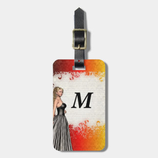 Girl in a silver gray dress luggage tag