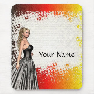 Girl in a silver gray dress mouse pad