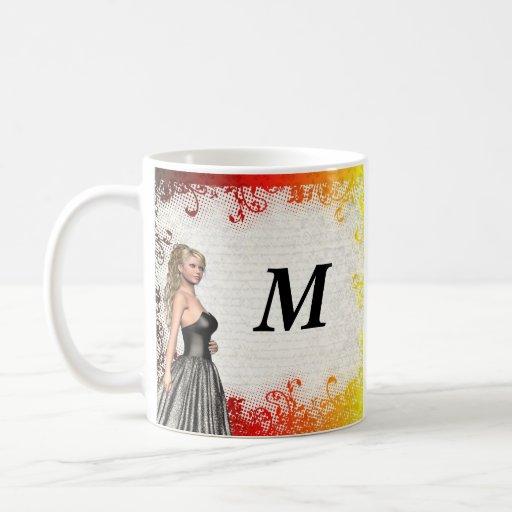 Girl in a silver gray dress classic white coffee mug