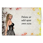 Girl in a silver gray dress stationery note card