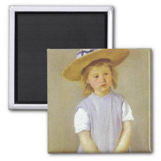 Girl in A Straw Hat, Mary Cassatt Magnet