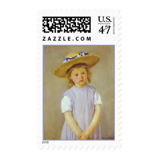 Girl in A Straw Hat, Mary Cassatt Postage Stamps