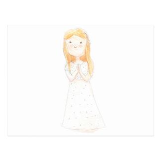 Girl in a white dress postcard