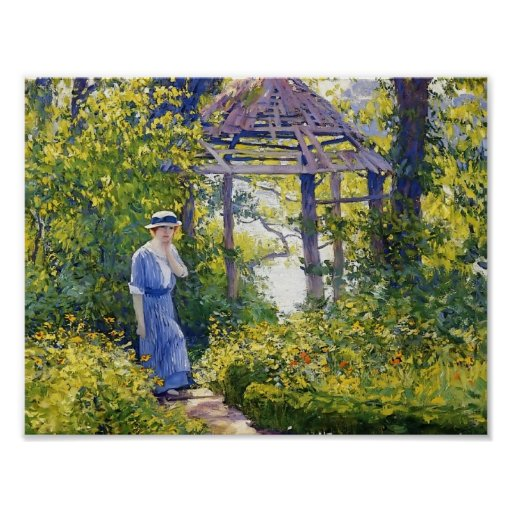 Girl in a Wickford Garden, New England by Guy Rose Poster