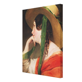 Girl in a Yellow Straw Hat, Canvas Print