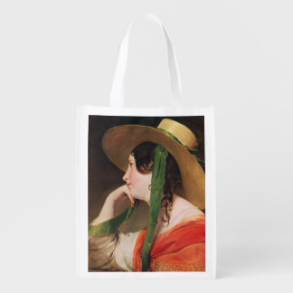 Girl in a Yellow Straw Hat, Reusable Grocery Bag