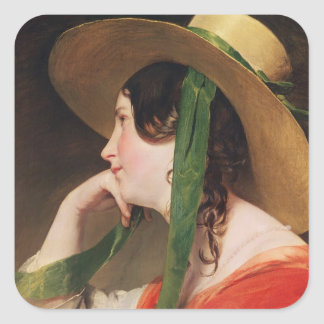 Girl in a Yellow Straw Hat, Square Sticker