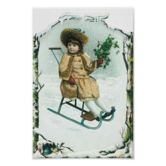 Girl in an Old Sled on Christmas Poster
