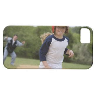 Girl in batting helmet running bases iPhone SE/5/5s case