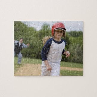 Girl in batting helmet running bases jigsaw puzzle