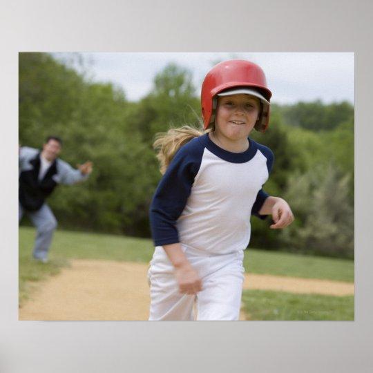 Girl in batting helmet running bases poster