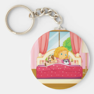 Girl in bed getting up keychain
