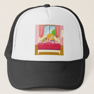 Girl in bed getting up trucker hat