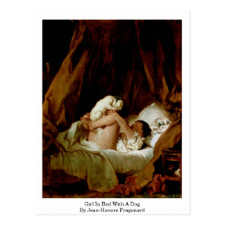 Girl In Bed With A Dog By Jean-Honore Fragonard Postcard