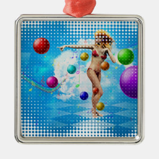 Girl in bikini dancing metal ornament