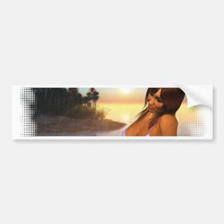 Girl in Bikini on Beach 4 Bumper Sticker
