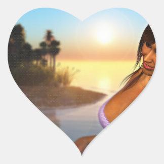 Girl in Bikini on Beach 4 Heart Sticker