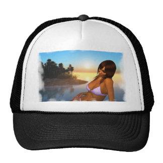 Girl in Bikini on Beach 4 Trucker Hat