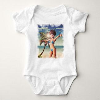 Girl in Bikini on Beach 6 Baby Bodysuit