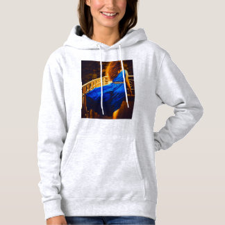 girl in blue dress, long hair, girl, length of dre hoodie