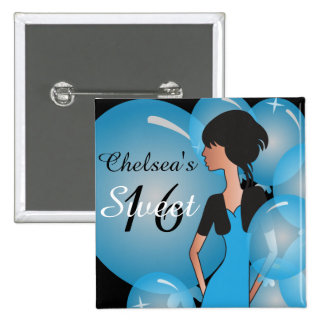 Girl in Blue for a Birthday or Bachelorette Button