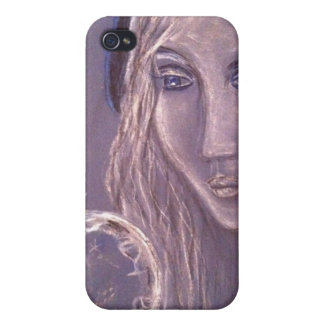 Girl in blue holding a crystal ball iphone iPhone 4/4S covers