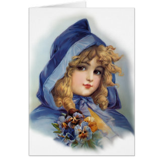Girl in Blue Hood Greeting Card