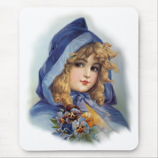 Girl in Blue Hood Mouse Pad