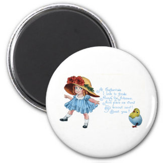 Girl in Bonnet & Blue Dress Vintage Easter 2 Inch Round Magnet