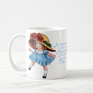 Girl in Bonnet & Blue Dress Vintage Easter Classic White Coffee Mug