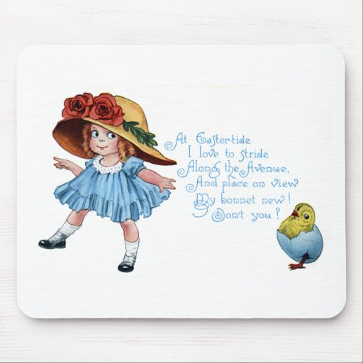 Girl in Bonnet & Blue Dress Vintage Easter Mouse Pad