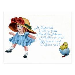 Girl in Bonnet & Blue Dress Vintage Easter Postcard