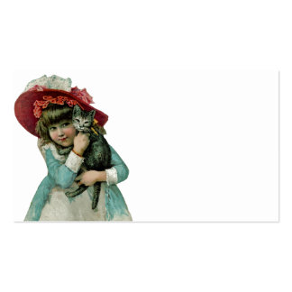Girl in Bonnet with Christmas Kitten Double-Sided Standard Business Cards (Pack Of 100)