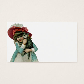 Girl in Bonnet with Christmas Kitten Business Card