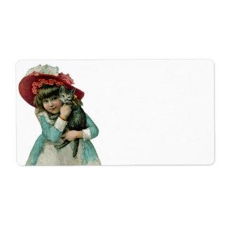Girl in Bonnet with Christmas Kitten Label